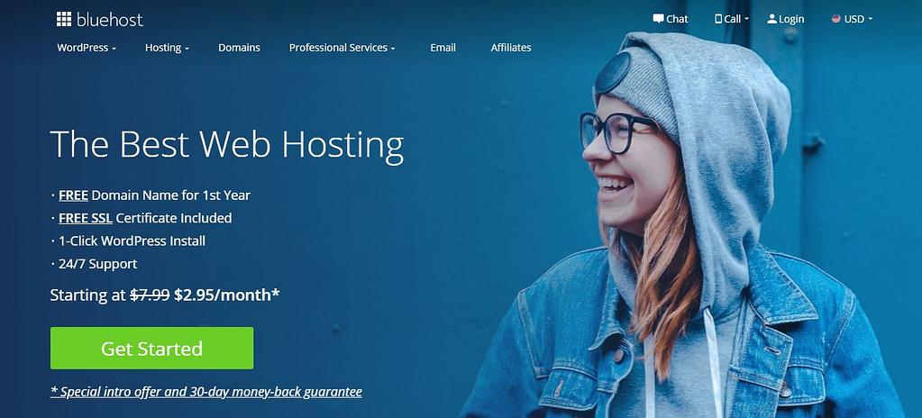 Bluehost登陆页面。