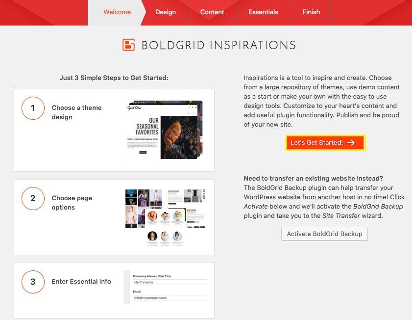 DreamHost WordPress网站构建器中的BoldGrid设置向导。