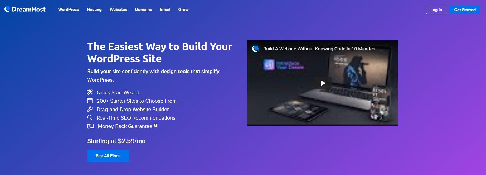 DreamHost WordPress网站构建器。