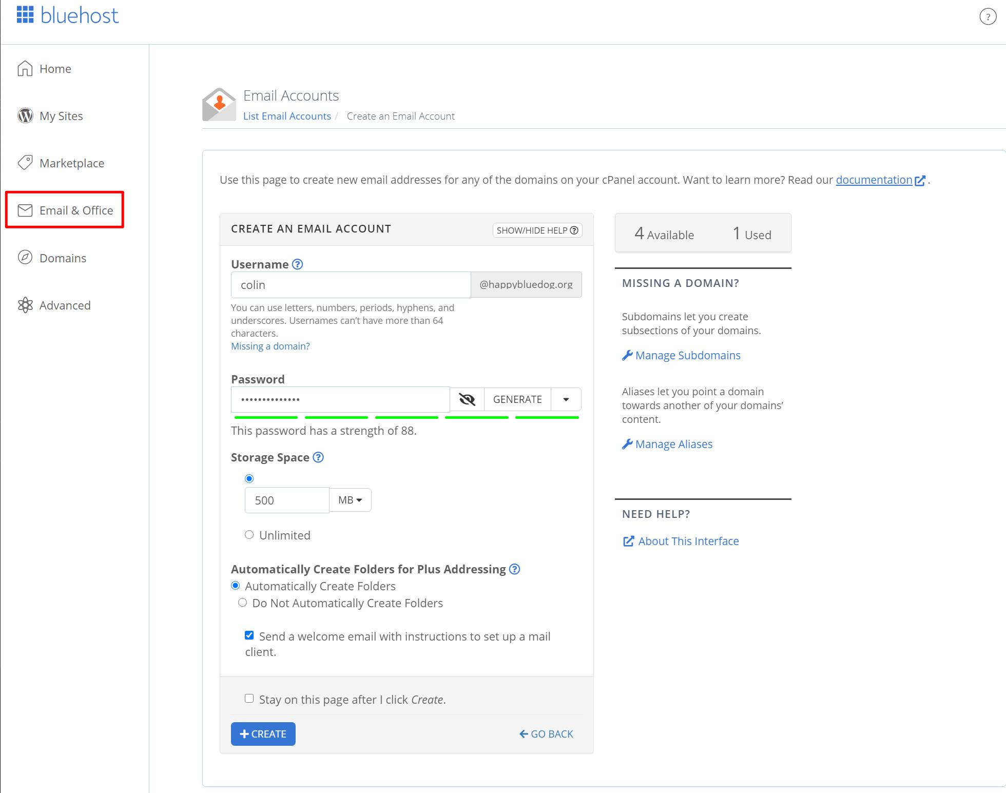 在Bluehost中创建电子邮件