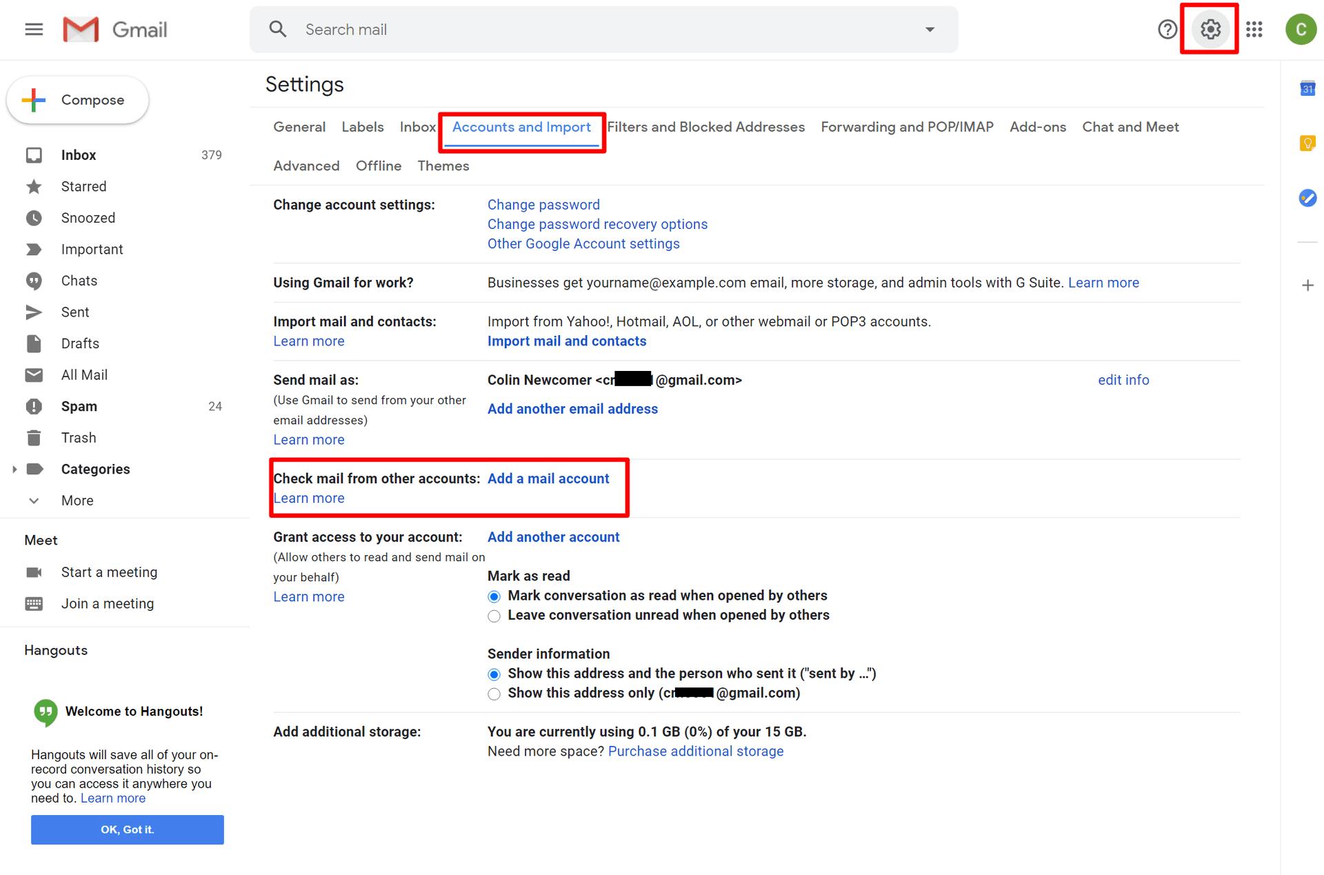 具有您自己的自定义域名的Gmail:访问Gmail设置