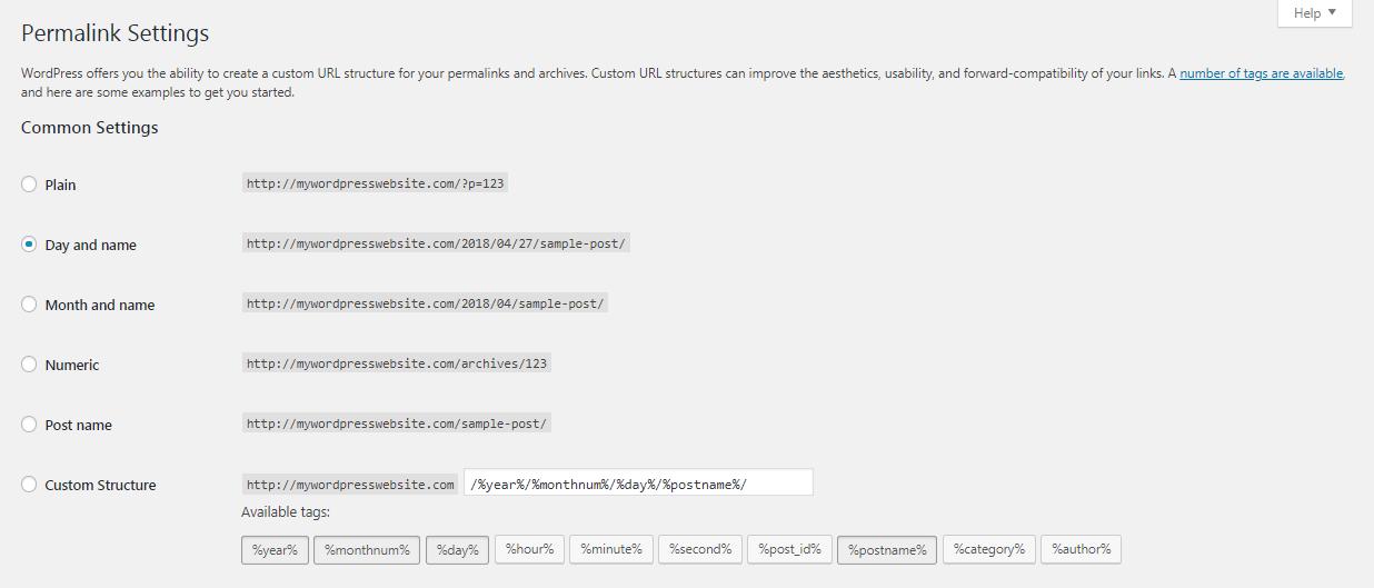 WordPress仪表板中的永久链接设置。