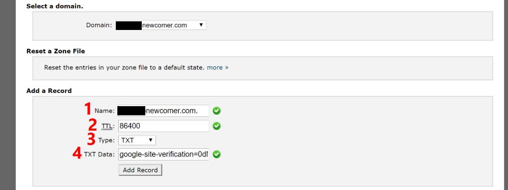 将TXT记录添加到DNS