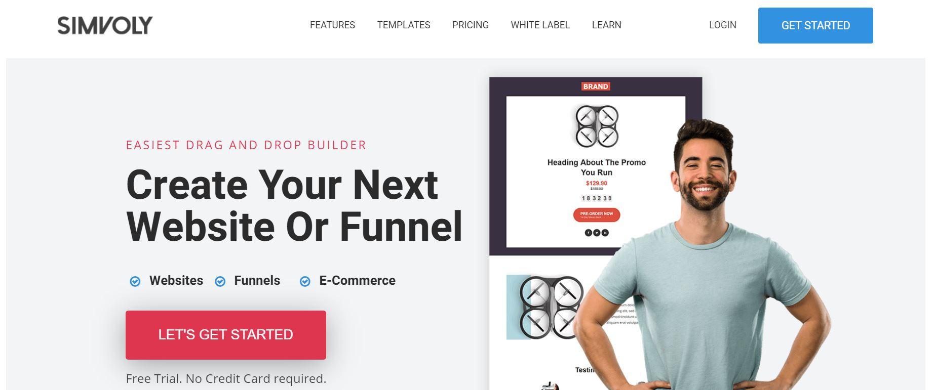 Simvoly网站构建器。