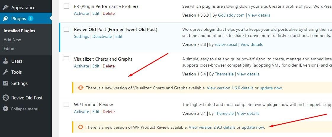 WordPress安全提示:更新插件
