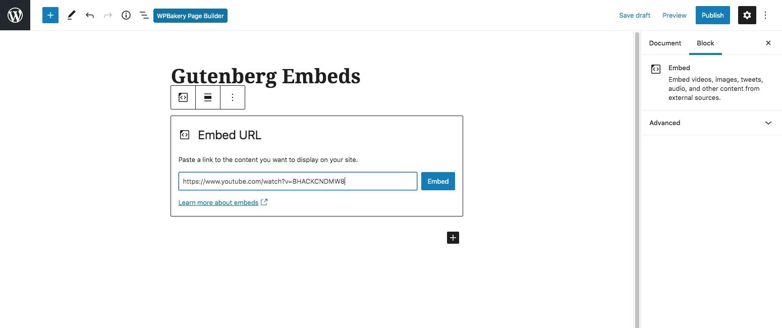 WordPress嵌入古登堡块