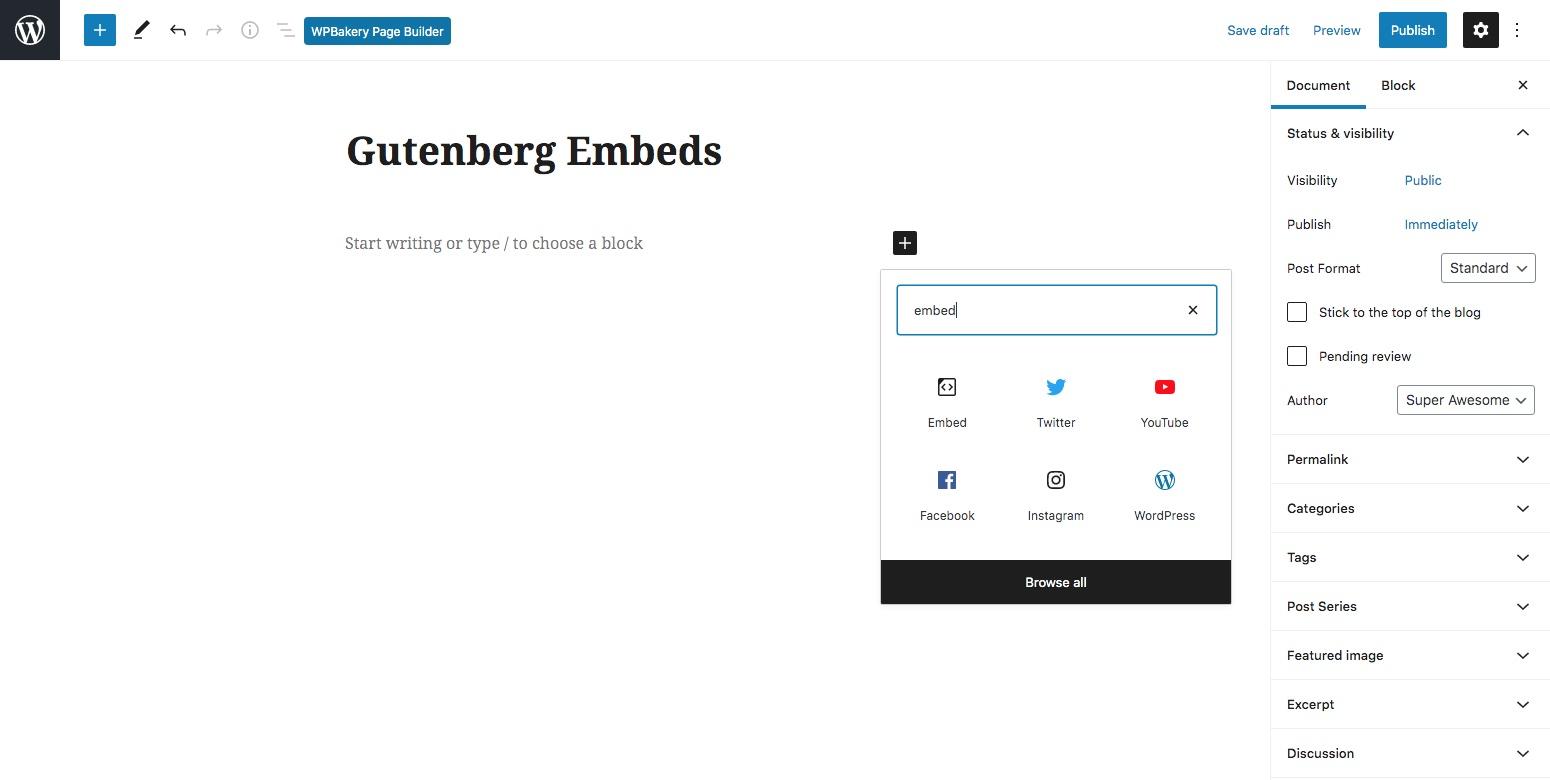 嵌入古腾堡的WordPress