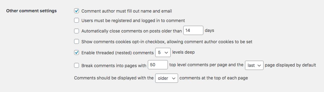 WordPress评论审核:其他评论设置