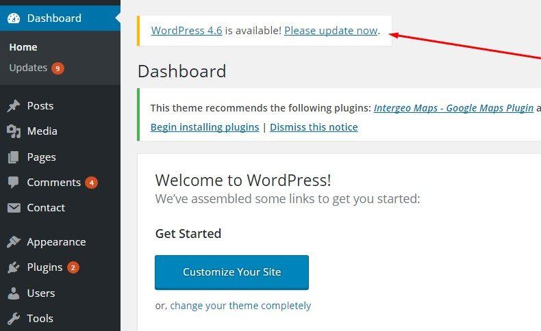 WordPress安全提示:更新WordPress