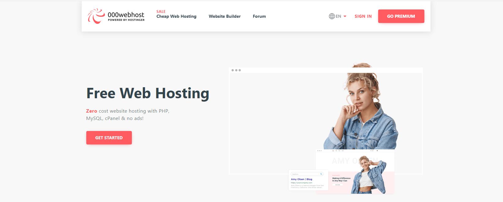 000WebHost网站托管。