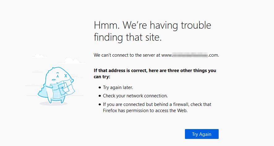 Firefox中的DNS_PROBE_FINISHED_NXDOMAIN错误。