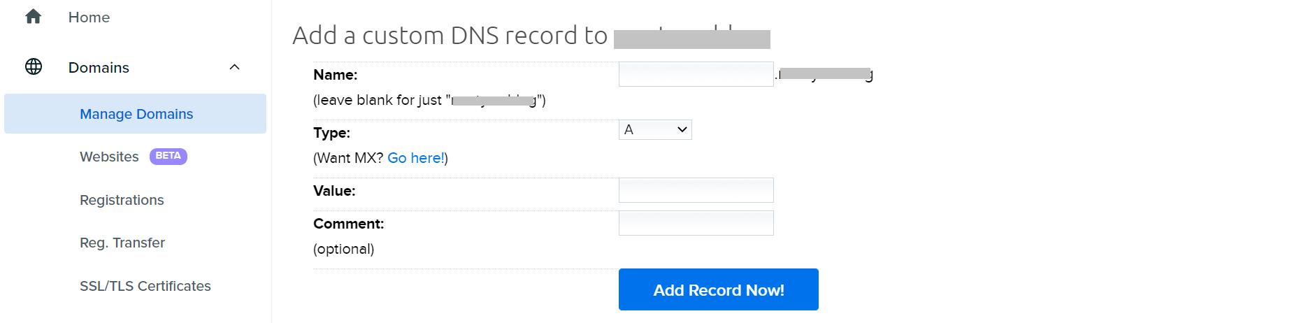 添加自定义DNS记录。