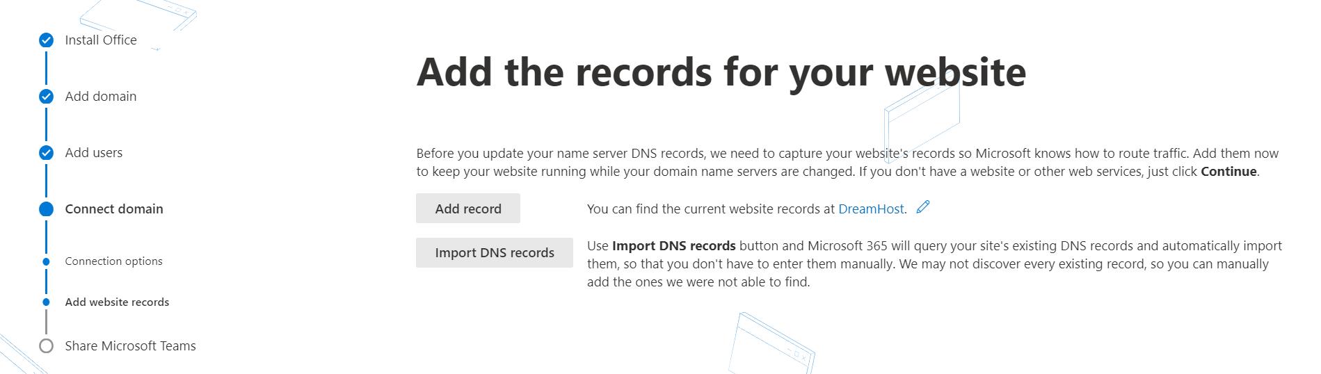 设置自定义电子邮件地址需要使用Office 365添加网站记录。