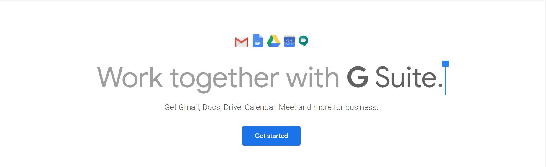 GSuite vs Office 365:G Suite主页。