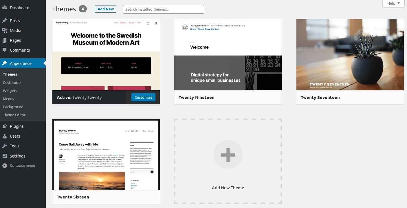 在WordPress仪表板中查看免费主题。