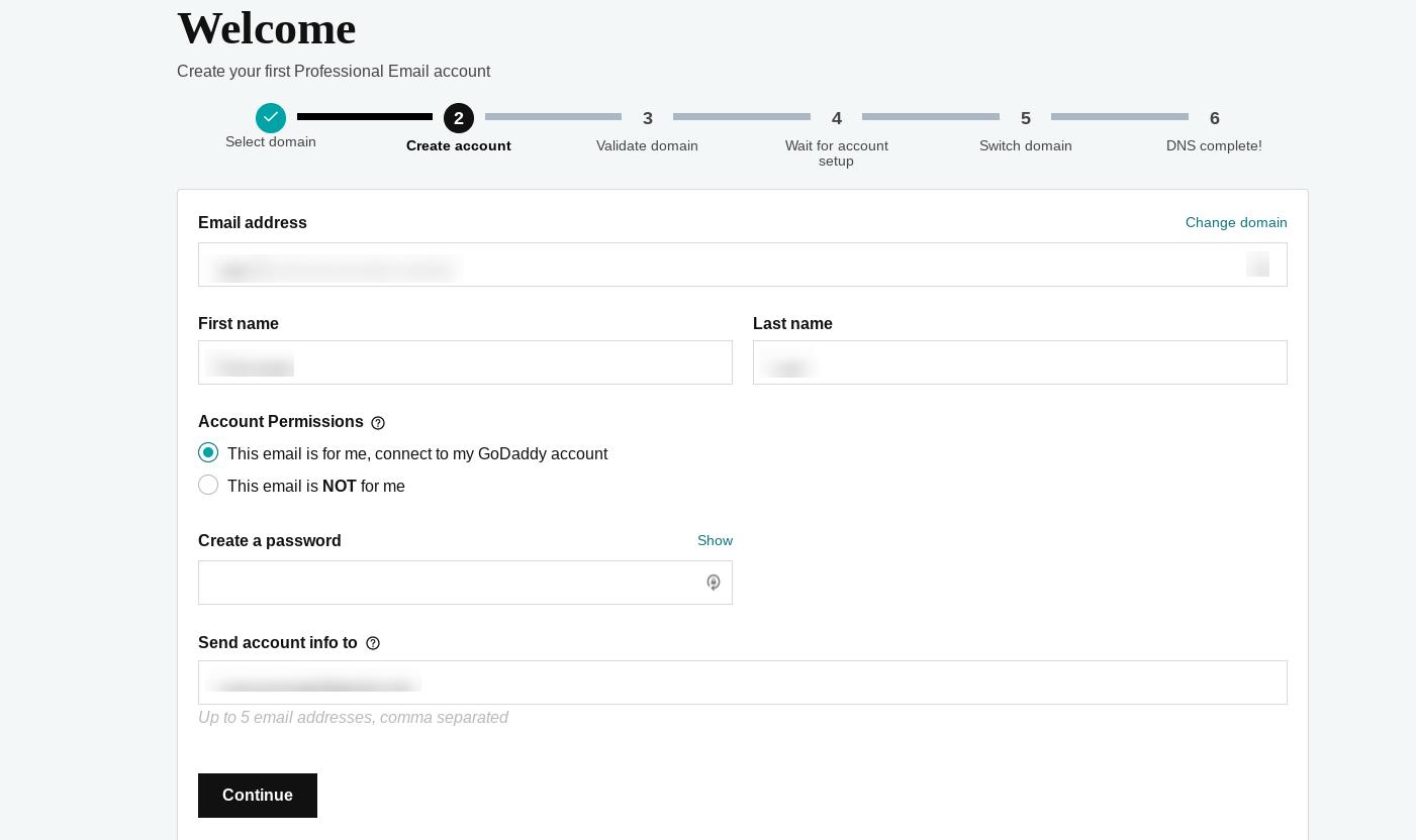 设置页面,用于使用GoDaddy创建公司电子邮件地址。