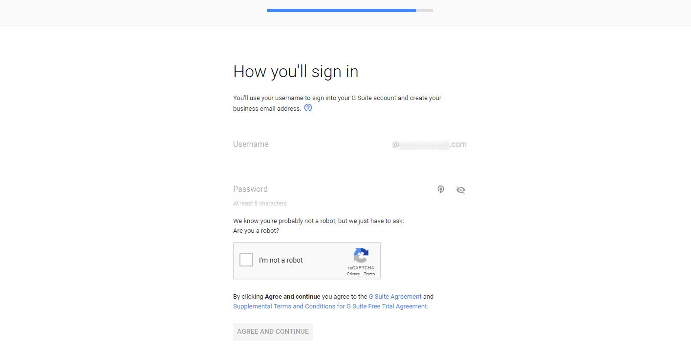 在G Suite中创建用户名以用作公司电子邮件地址的页面。
