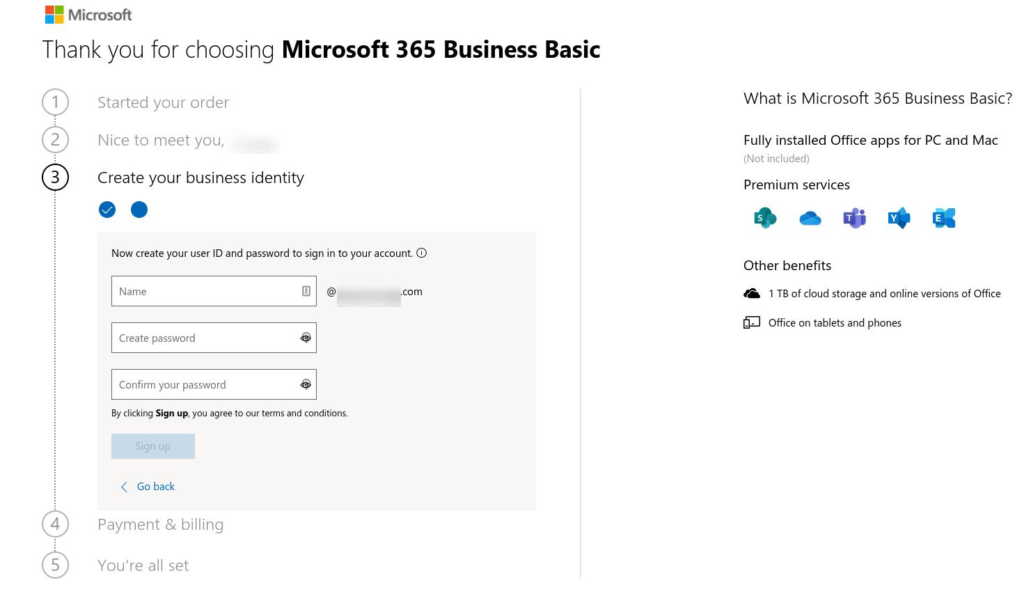 用于为Microsoft 365创建用户ID和密码的表单。