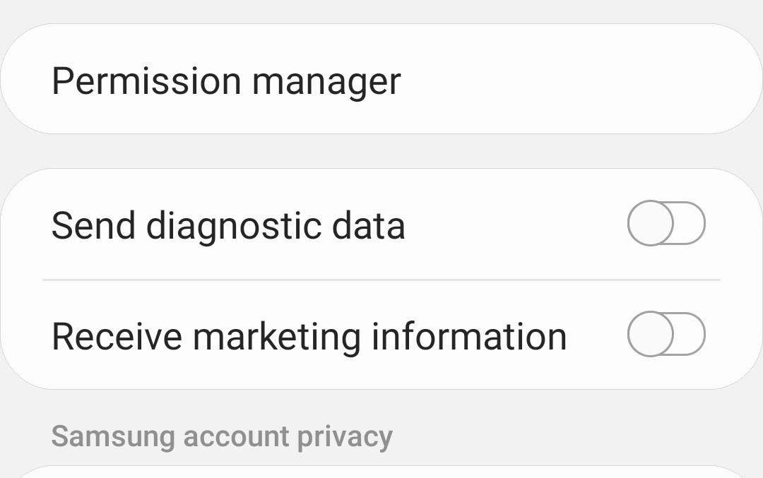 在Android中关闭诊断数据和市场营销优惠