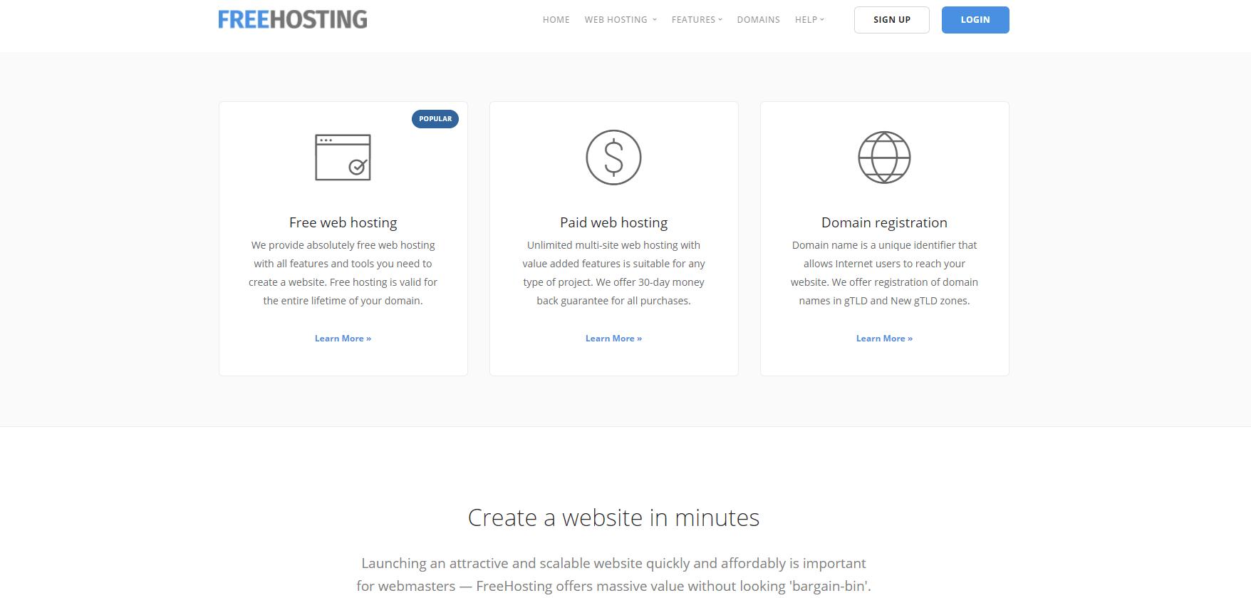 FreeHosting网站托管。