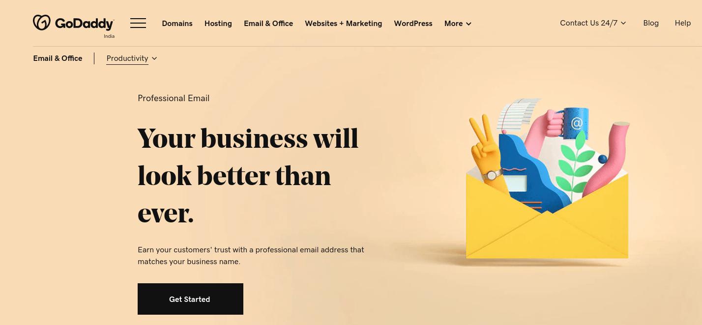 GoDaddy专业版电子邮件页面。