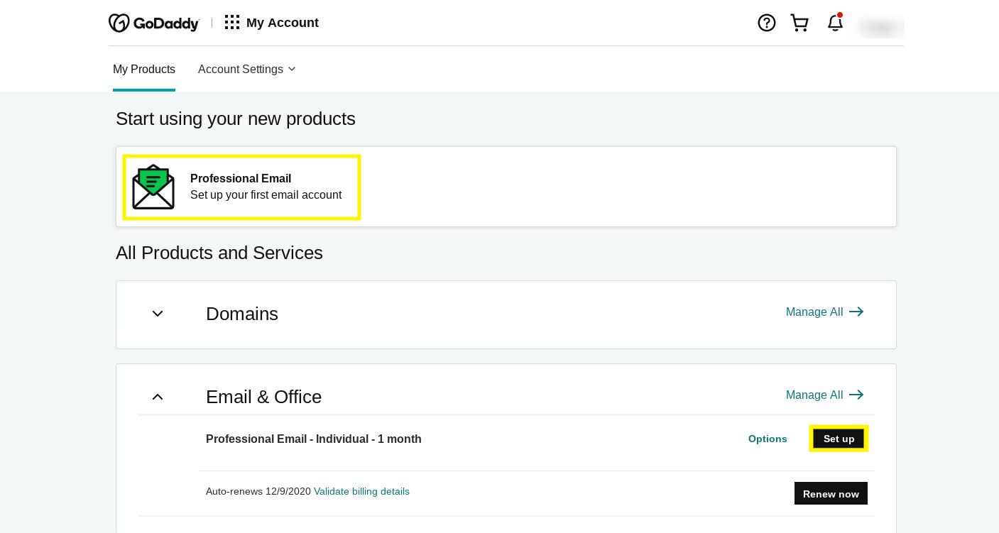 "GoDaddy帐户信息中心的""我的产品""页面。"