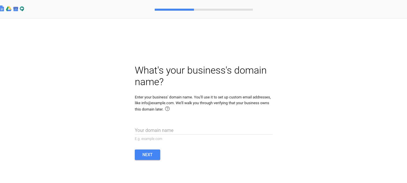 设置G Suite帐户时输入企业域名的位置。