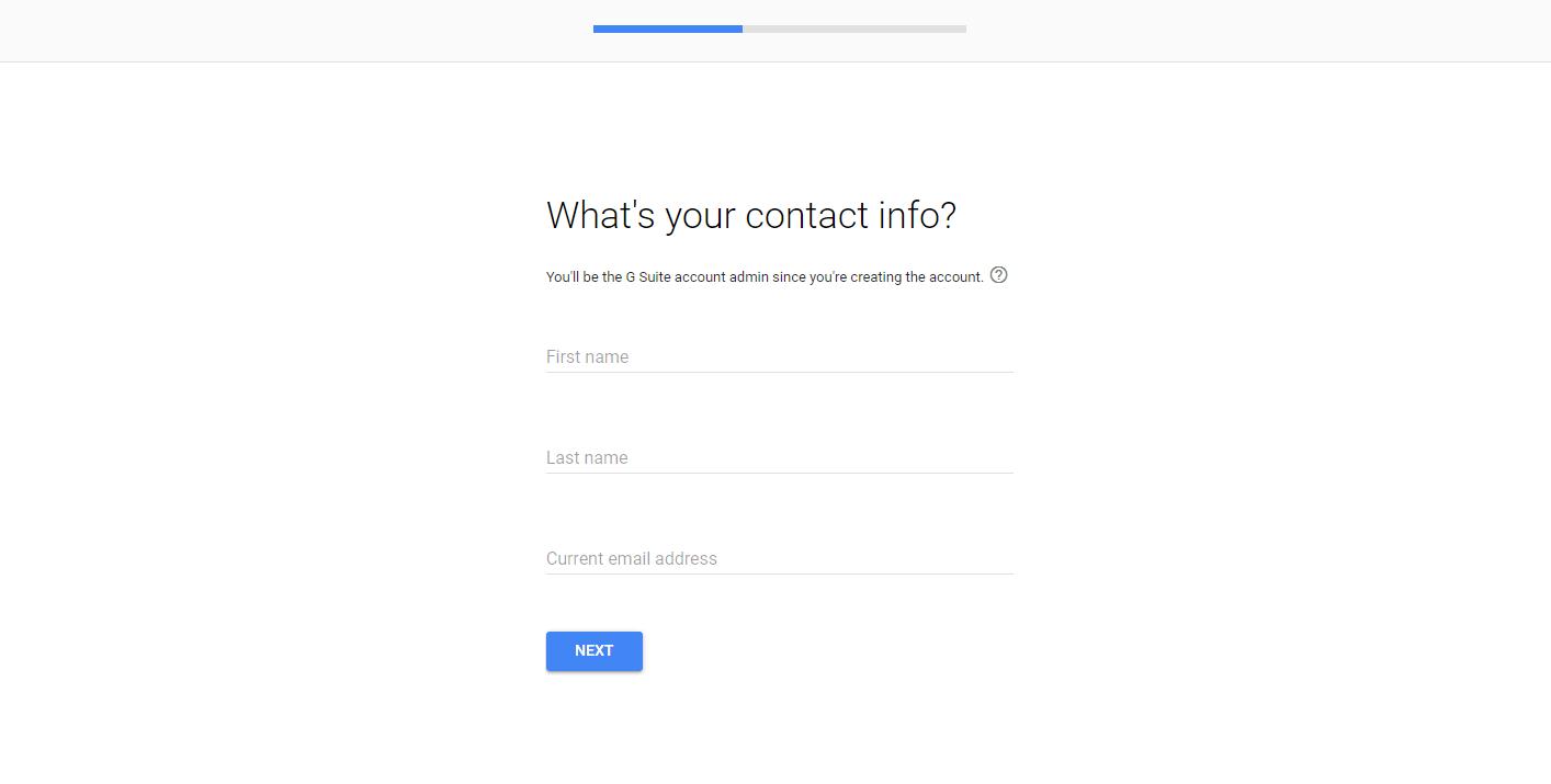 G Suite设置向导中的联系信息页面。
