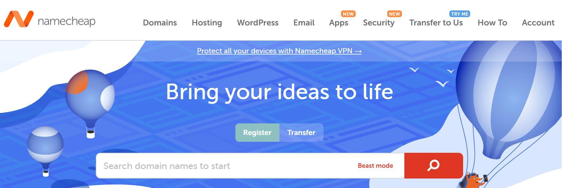 Namecheap是强大的GoDaddy替代产品,因为它们提供托管和域名注册。