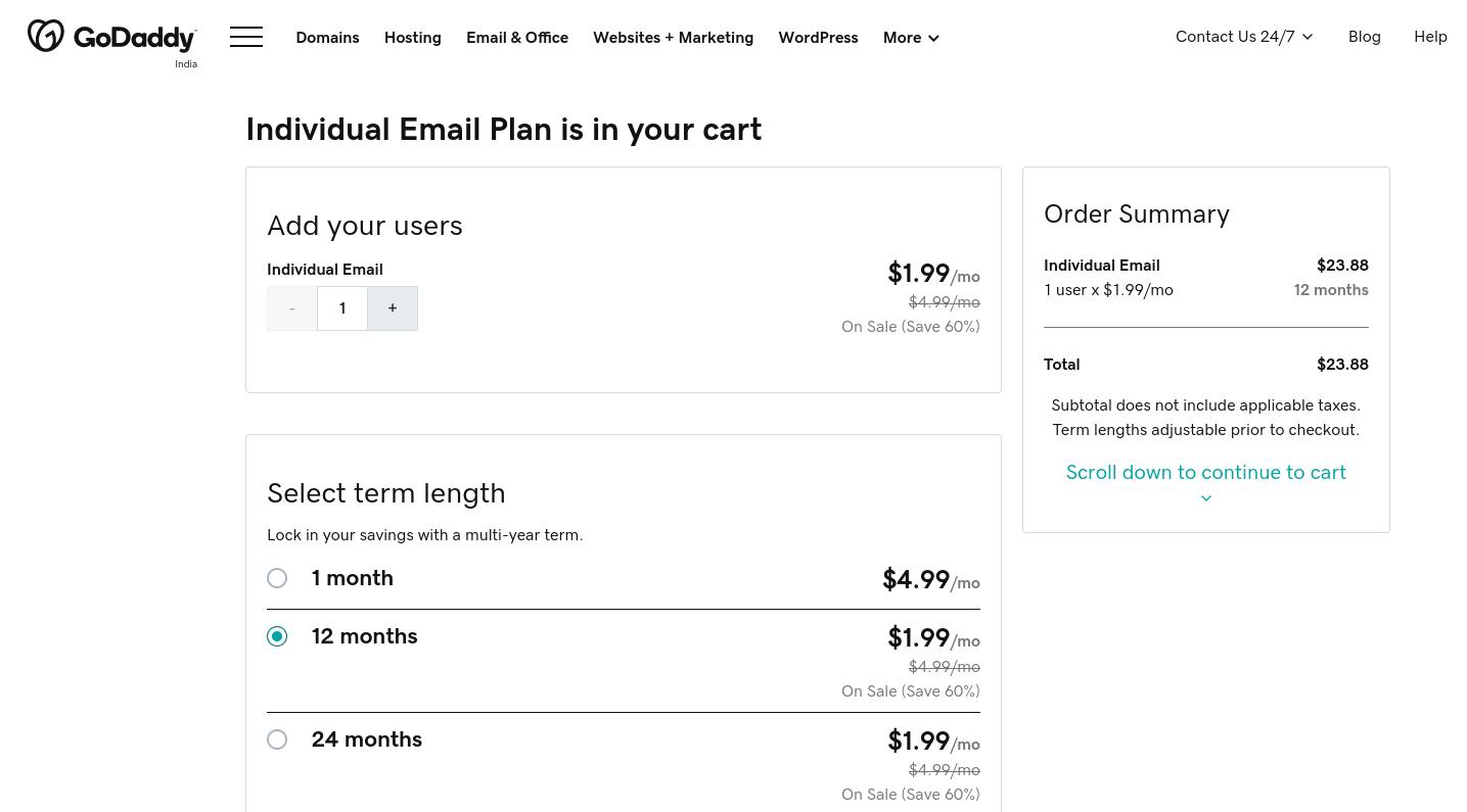 GoDaddy个人电子邮件计划购买页面。