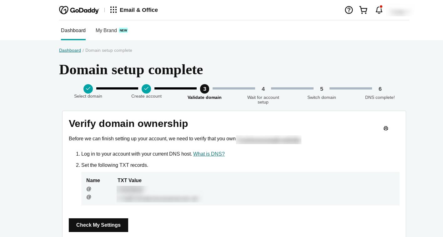 验证您的域以创建公司电子邮件地址