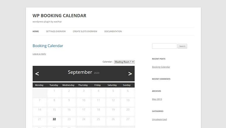 WP预订日历