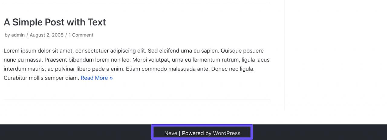 WordPress默认页脚