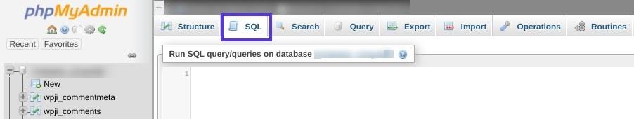 phpmyadmin SQL