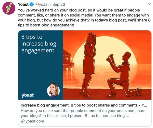 yoast seo中带有社交媒体优化的示例Twitter帖子