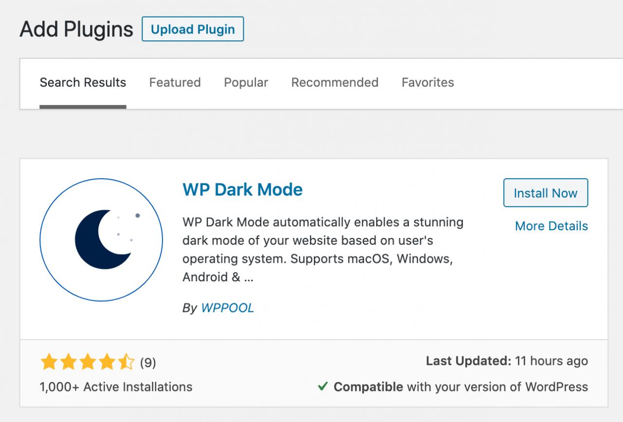 安装WP Dark Mode WordPress插件