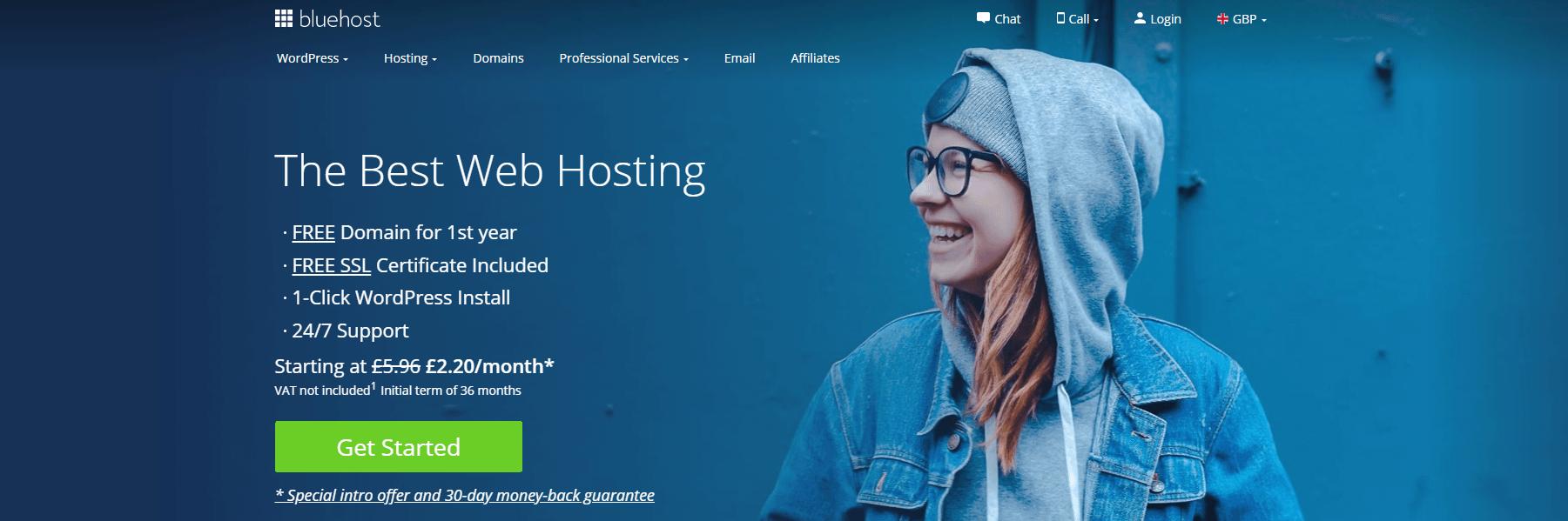 Bluehost主页。