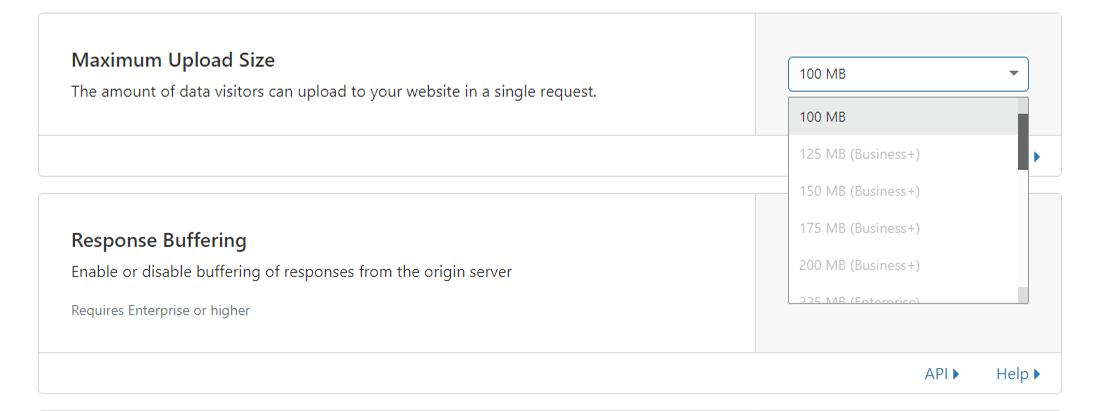 "Cloudflare各种计划的""最大上传大小""限制"
