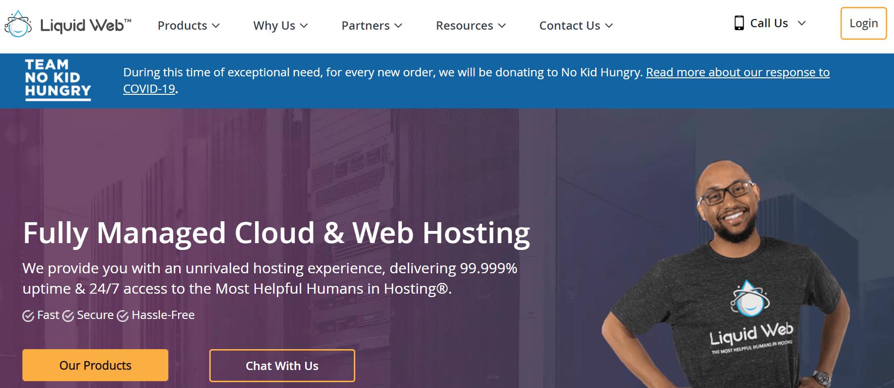 Liquid Web主页。