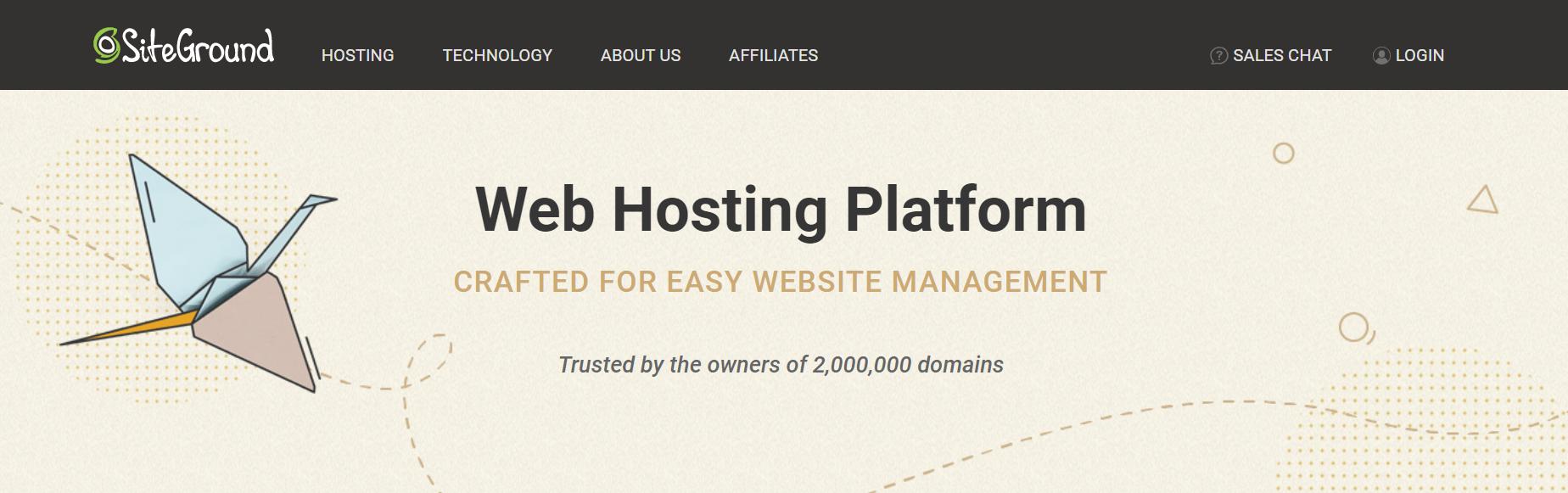 SiteGround主页。