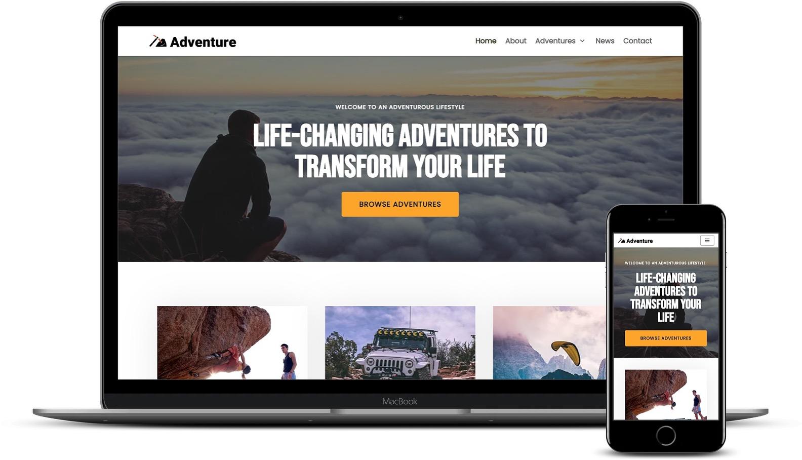 使用WordPress的冒险旅行社网站