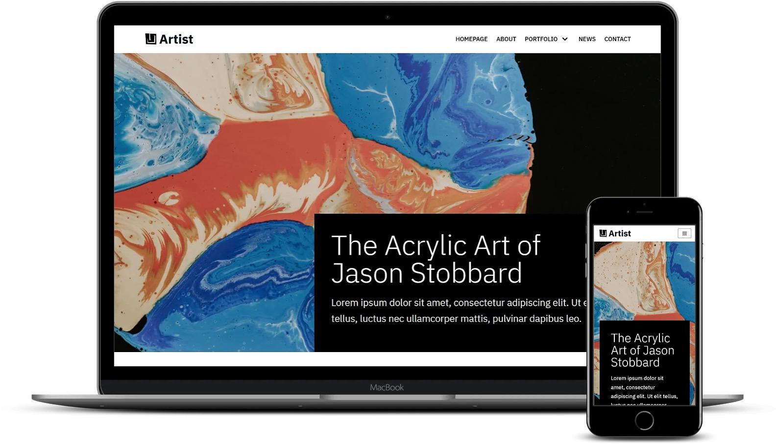 使用Elementor的艺术家WordPress模板