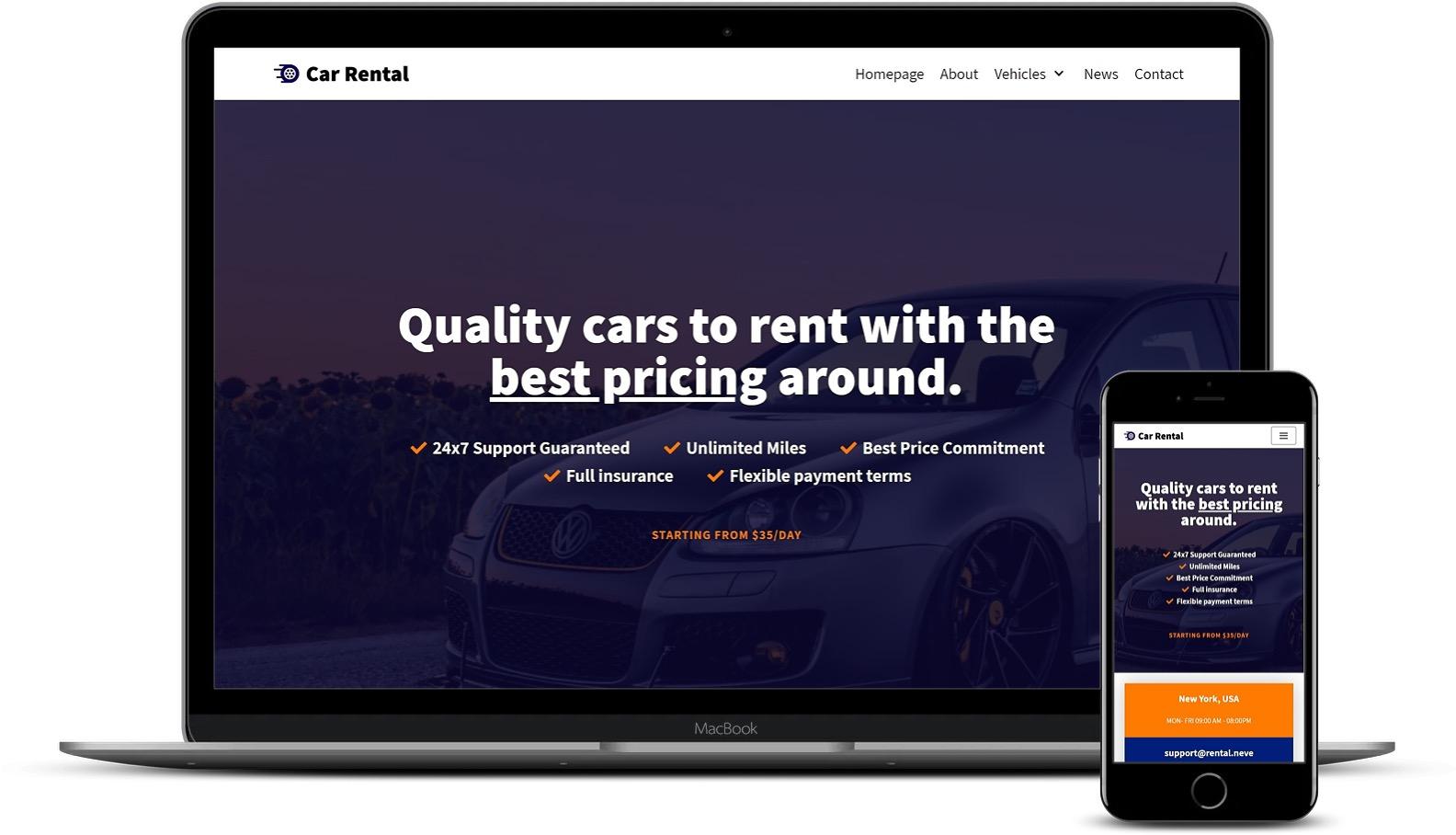 租车WordPress模板
