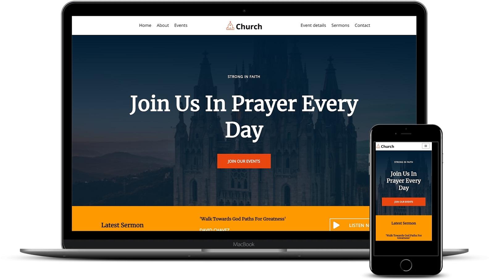 用Elementor构建的WordPress教堂模板