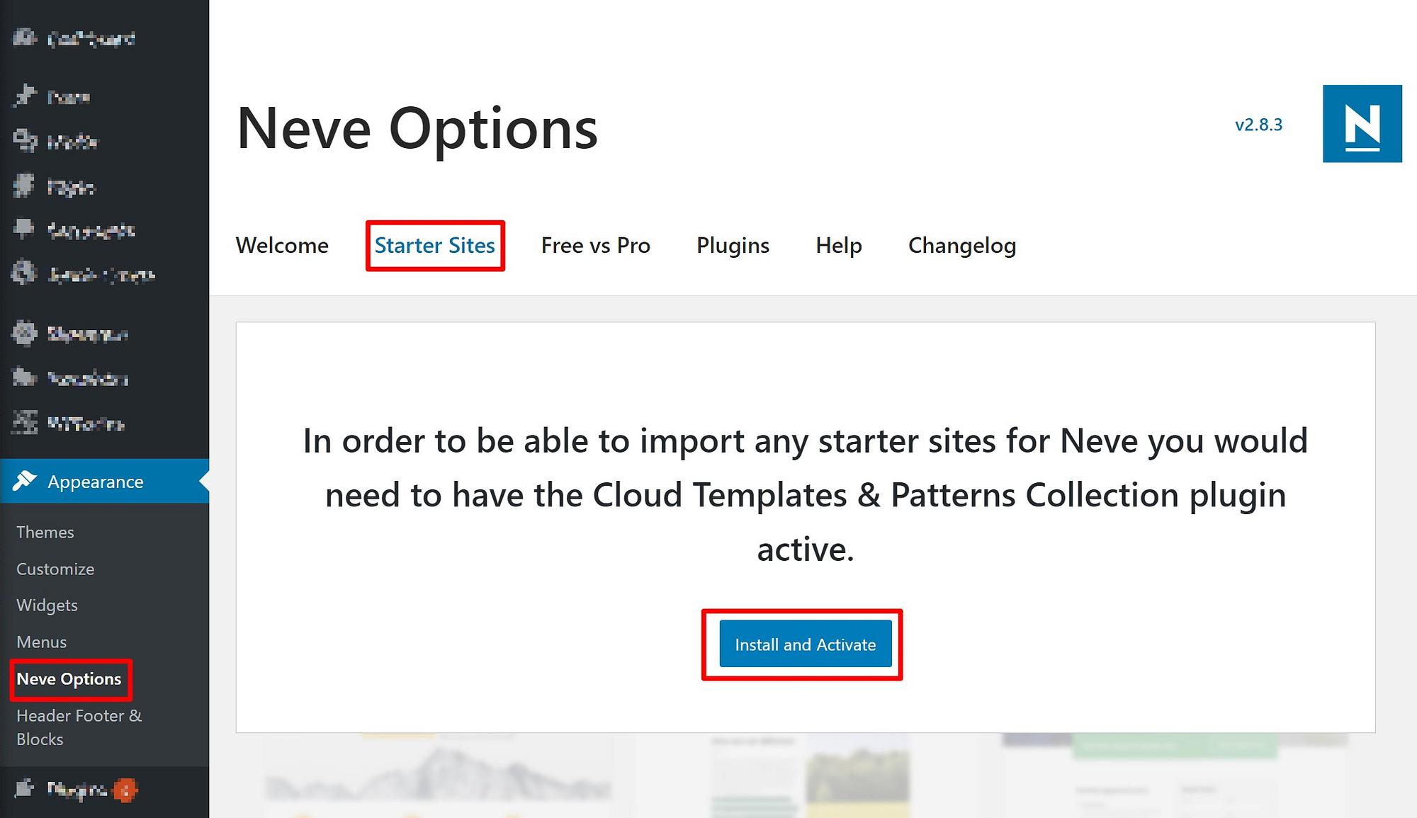 如何从WordPress仪表板安装Neve的Elementor模板