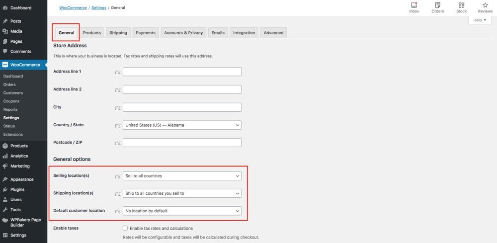 WooCommerce常规选项位置设置