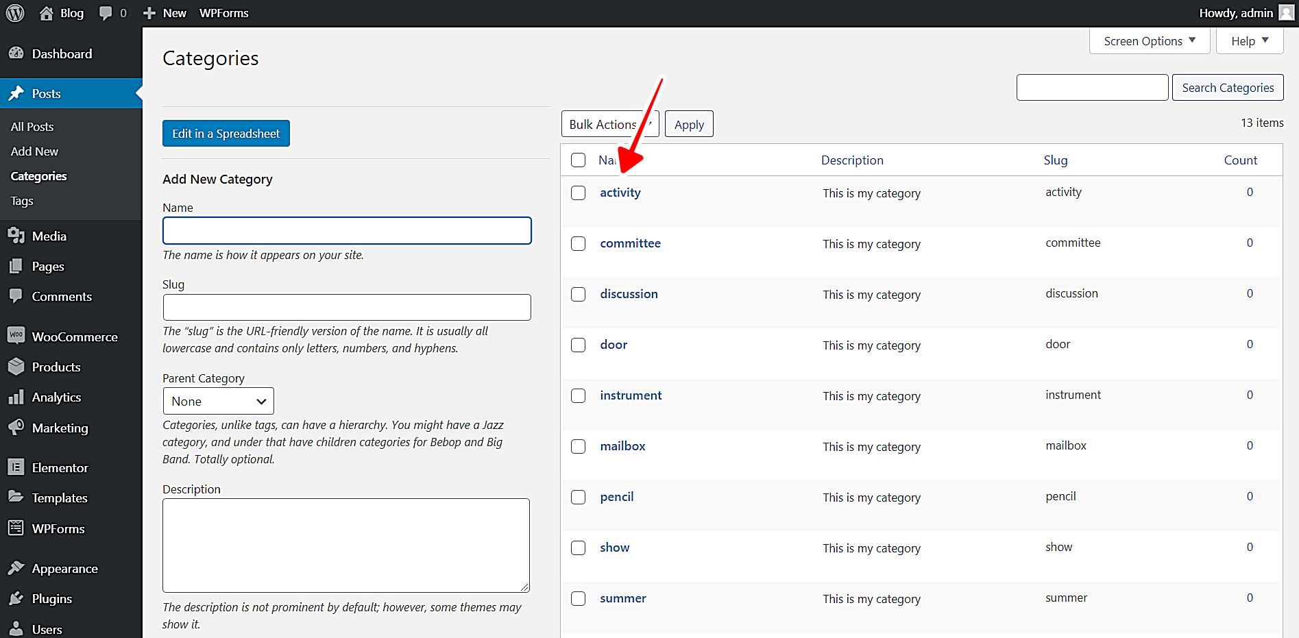 WordPress按字母顺序对类别进行排序