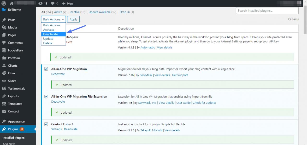 WordPress插件停用