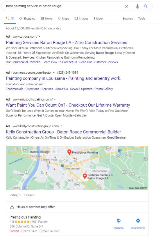 Google在巴吞鲁日获得最佳绘画服务的本地搜索结果示例