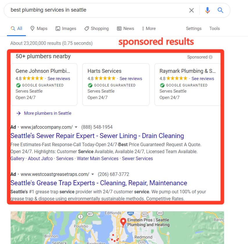 Google的西雅图本地SERP绘画服务,以及一个红色框,突出显示赞助结果